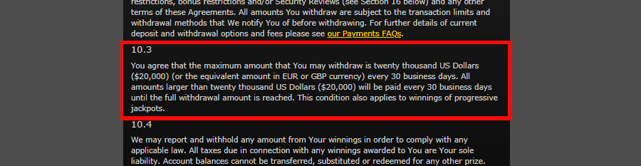 Withdrawal Limit Pay - 40564